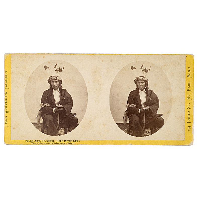 Joel E. Whitney Stereoview of Po-Go-Nay-Ke-Shick (Hole in the Day), The Celebrated Chippewa Chief,