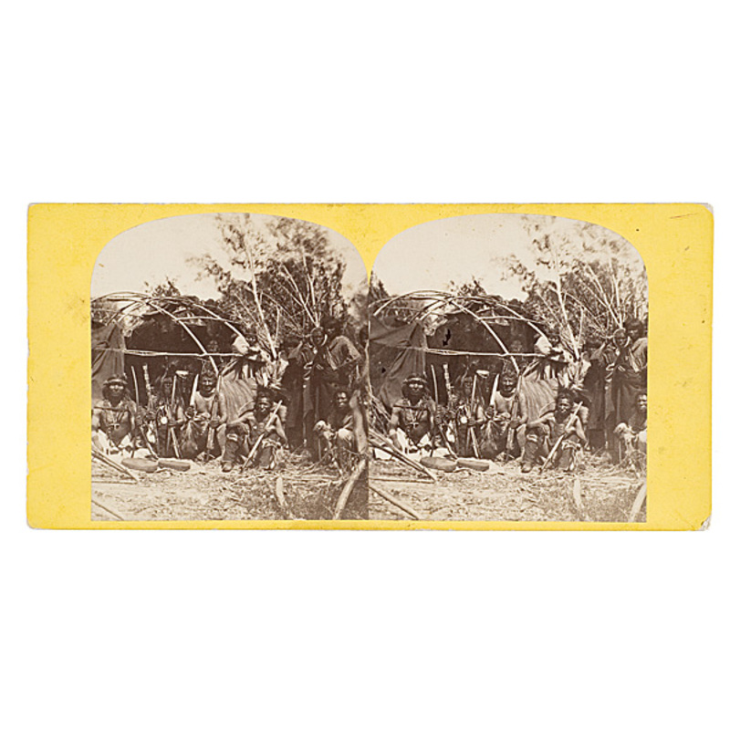 Joel E. Whitney Stereoview of Winnebago Chiefs in Council,