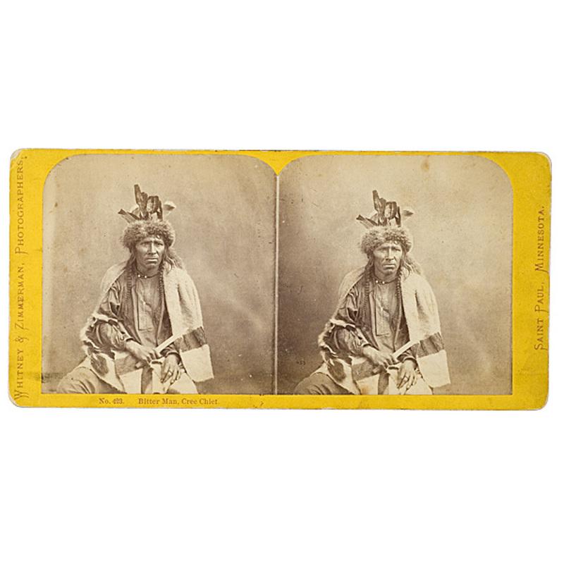 Whitney and Zimmerman Stereoview of Bitter Man, Cree Chief,