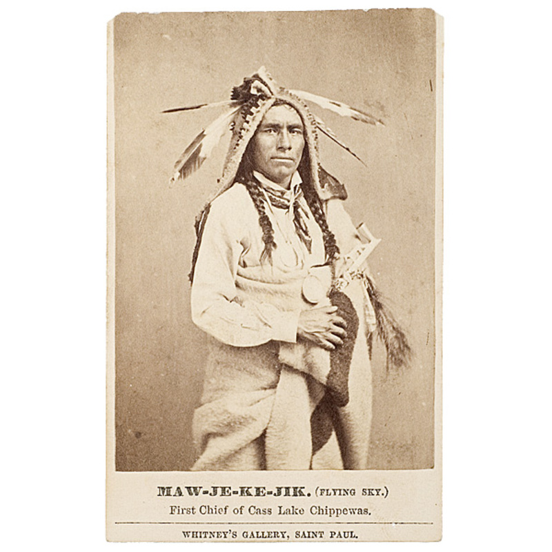 Fine Joel Whitney CDV of Maw-je-ke-jik (Flying Sky), First Chief of Cass Lake Chippewas