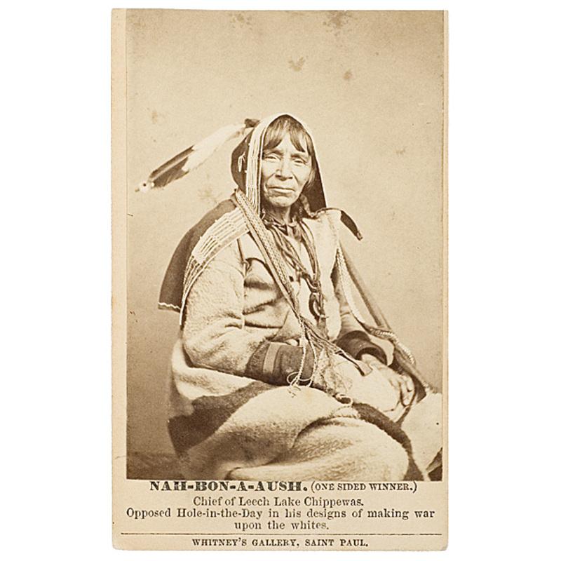 CDV of Nah-bon-a-aush (One-sided Winner), Chief of Leech Lake Chippewas,