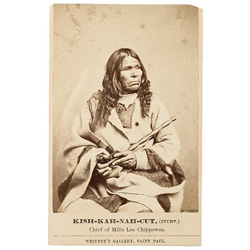 CDV of Kish-kah-nah-cut (The Stump), Chief of Mille Lac Chippewas,