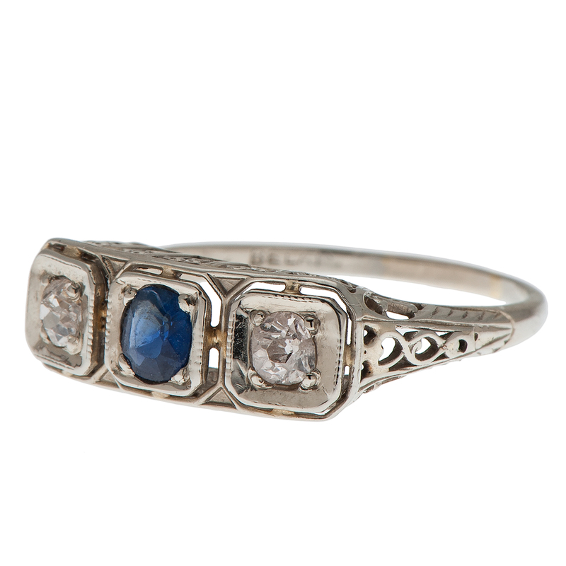 Belais Diamond and Sapphire Ring in 18 Karat White Gold
