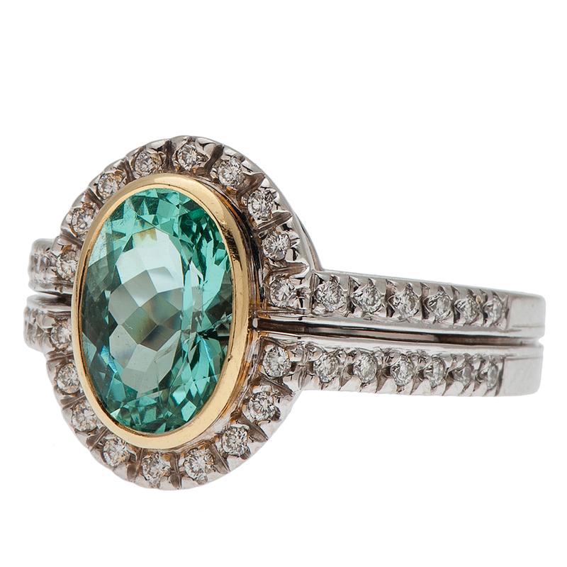 Sarosi Paraiba Tourmaline and Diamond Ring in 18 Karat Gold