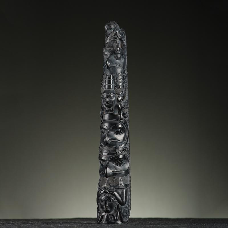 Haida Model Argillite Totem Pole