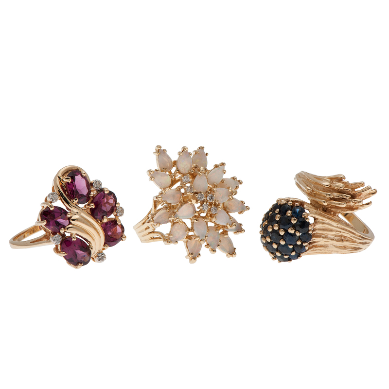 Cluster Rings in 14 Karat Yellow Gold with Gemstones