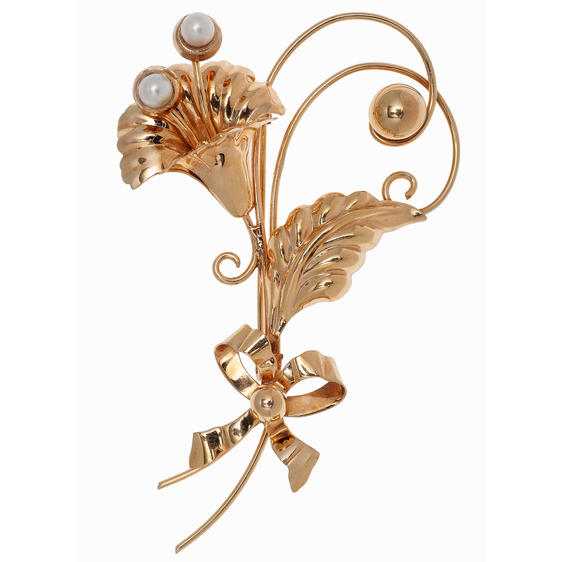 Aregel  Floral Brooch with Pearls in 10 Karat Yellow Gold