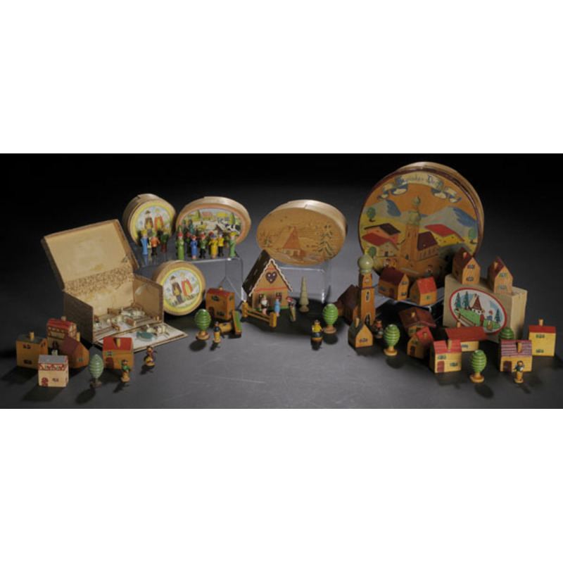 Seven Boxed Sets of Carved & Painted German Figures,