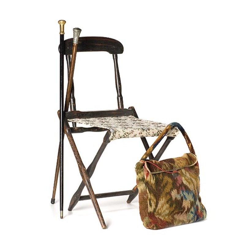Camp Chair, Carpet  Bag and Two Canes,