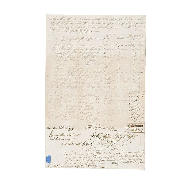 Revolutionary War Document Signed by General Horatio Gates and Several...