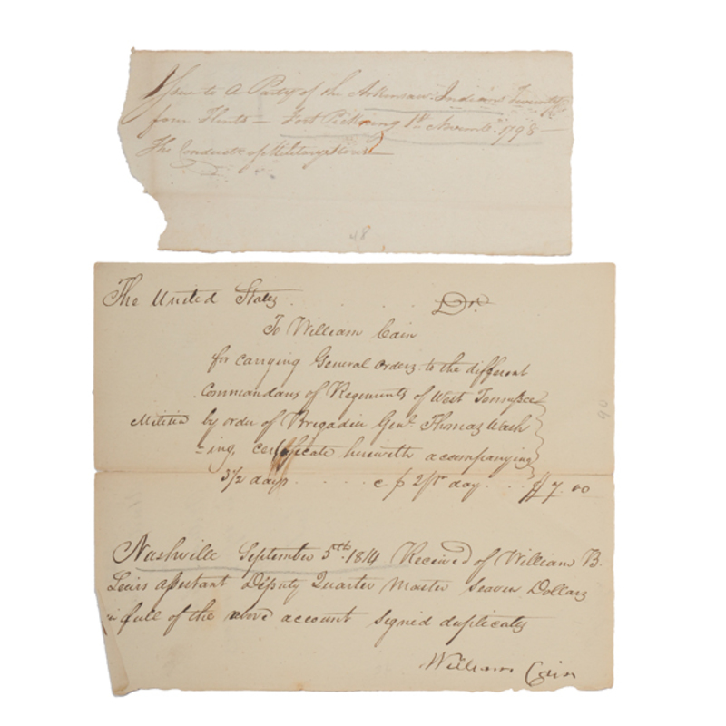 Military Receipt from Fort Pickering, TN for Arms to Arkansas Indians