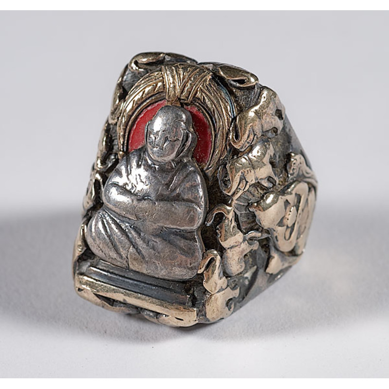 Chinese Buddhist Silver, Gold and Enamel Mens Ring,