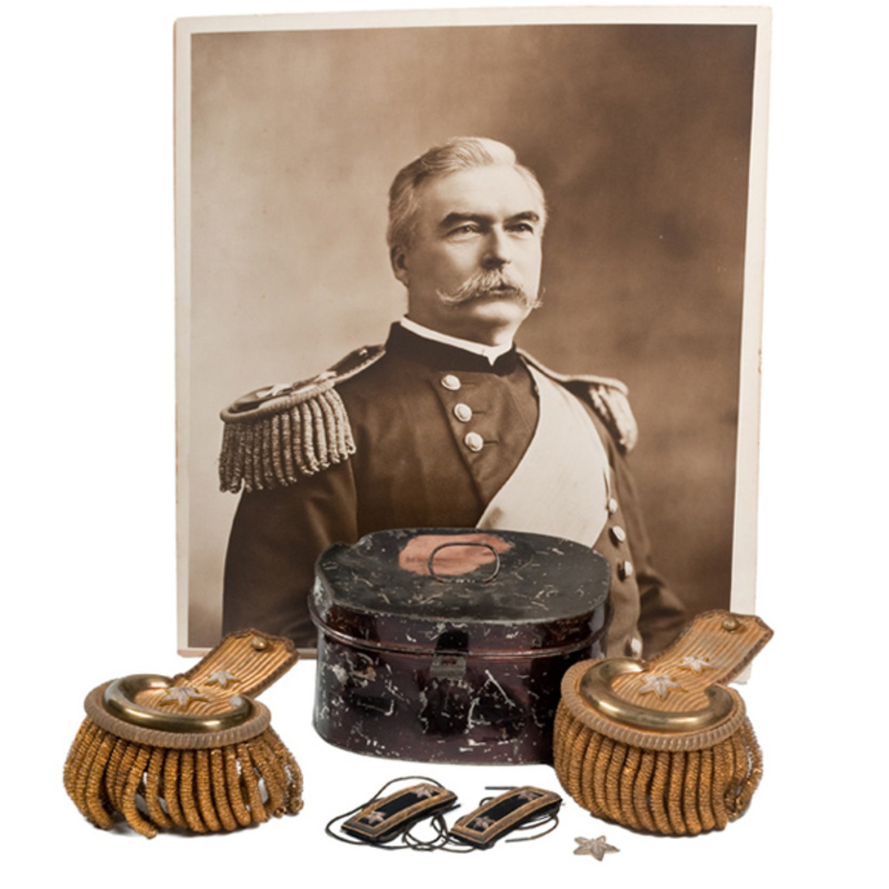 Pair of Dress Epaulets and Shoulder Straps in Original Tin Worn by Major General Thomas H. Ruger,