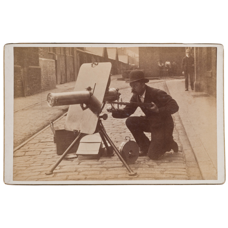 Four Cabinet Card Photographs of a  Improved Gatling Gun Fitting with Accles Positive Feed,