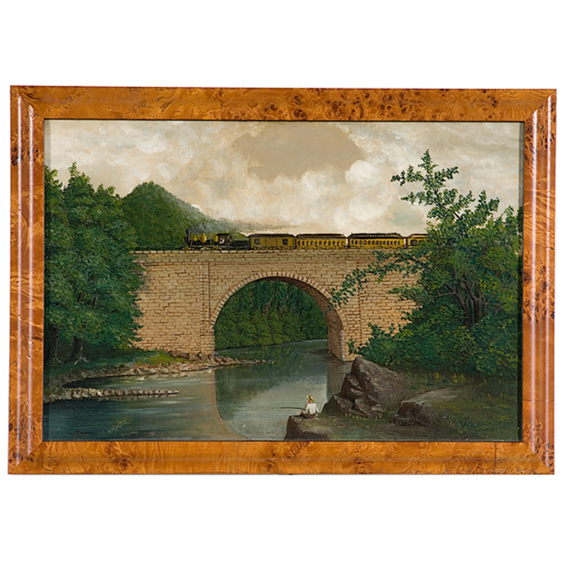 American School Painting, Train in Riverscape