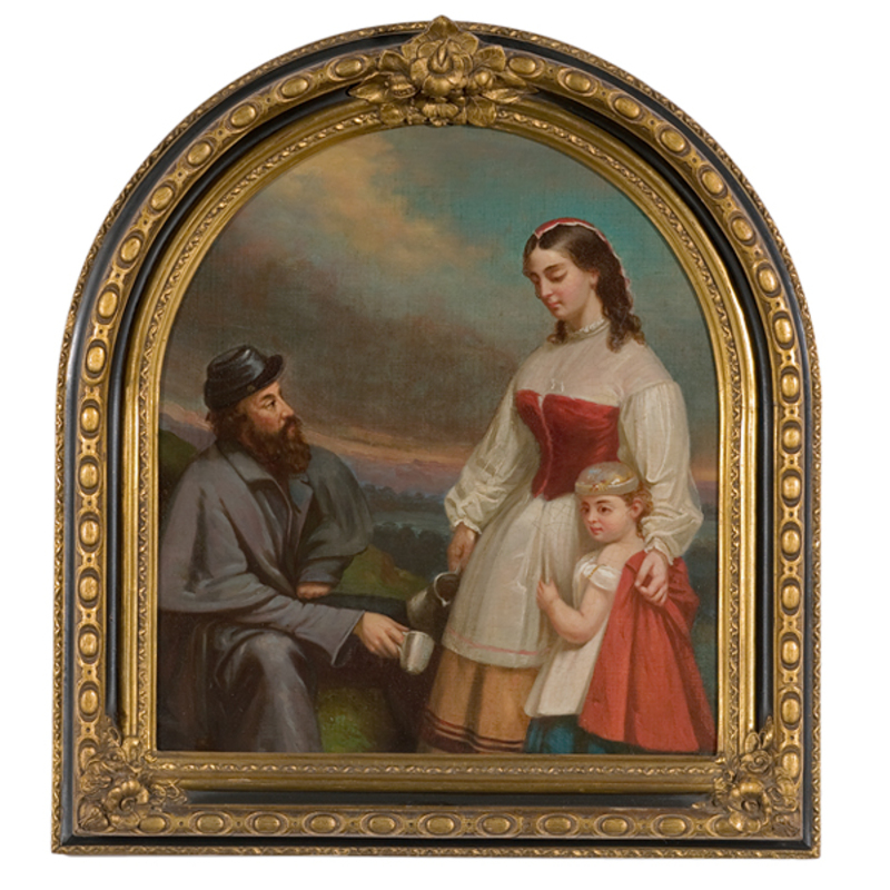Confederate Painting of Soldier and Nurse with Daughter, Oil on Panel