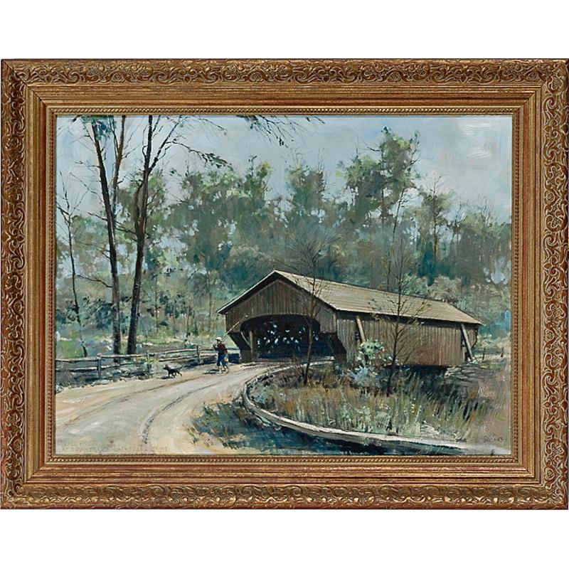Covered Bridge by Eric Sloan, Oil on Masonite