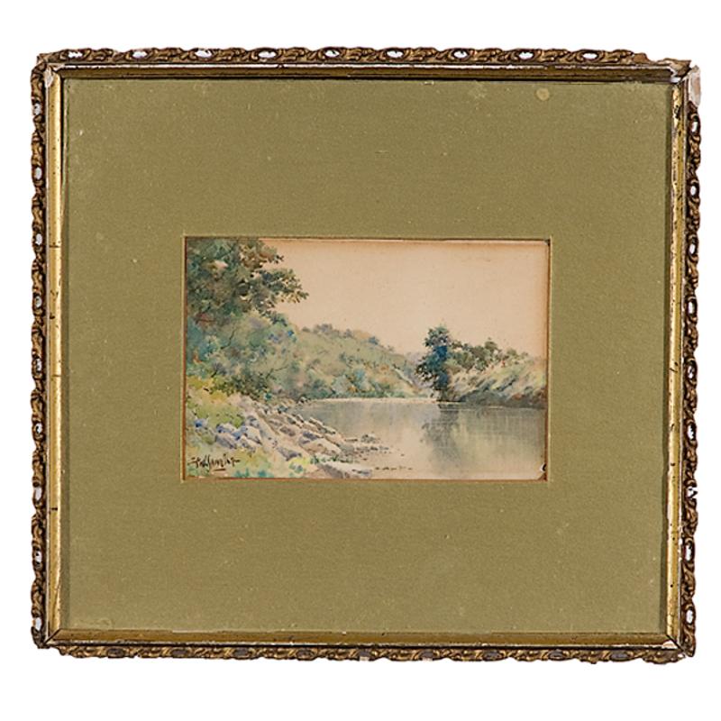 River Landscape by Paul Sawyier, Watercolor on Paper