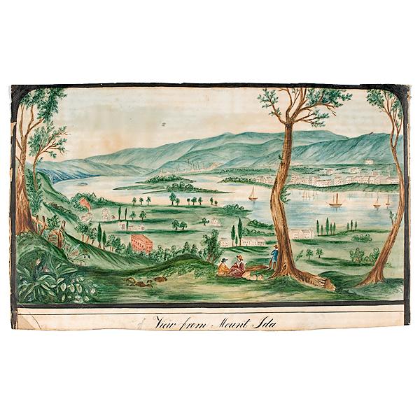 American School Landscape, Watercolor on Paper
