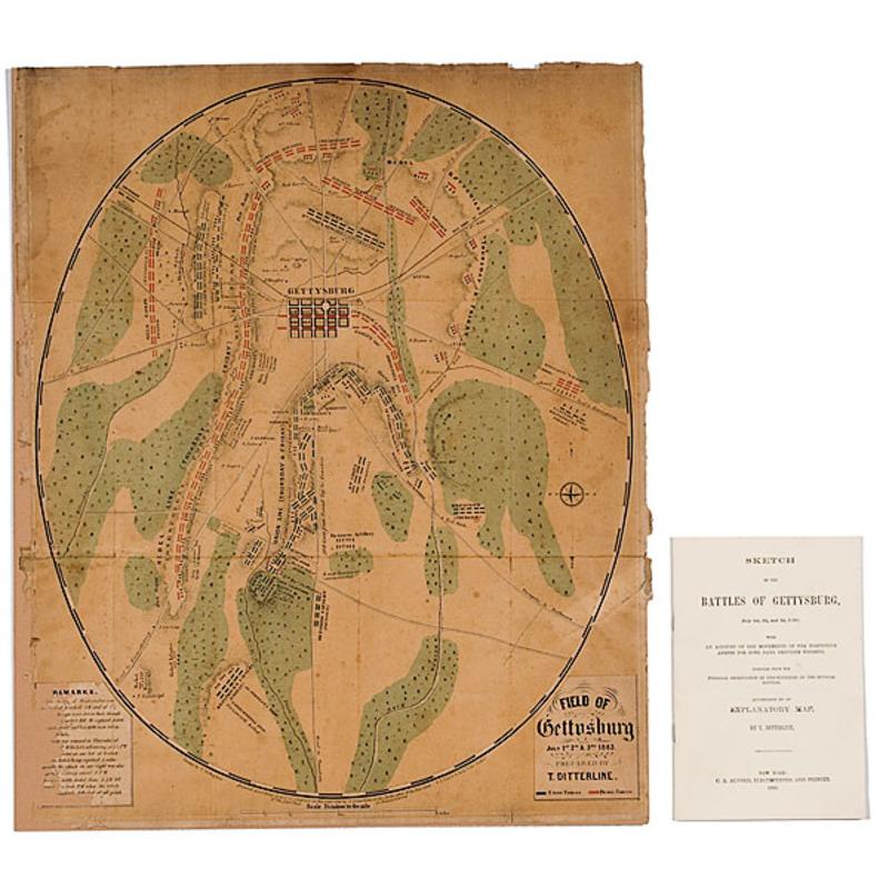 Gettysburg Battlefield Map, T. Ditterline, 1863, Plus