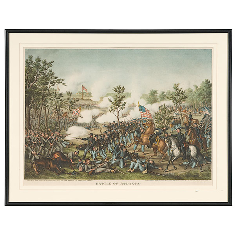 Battle of Atlanta - Death of McPherson Kurz & Allison Chromolithograph