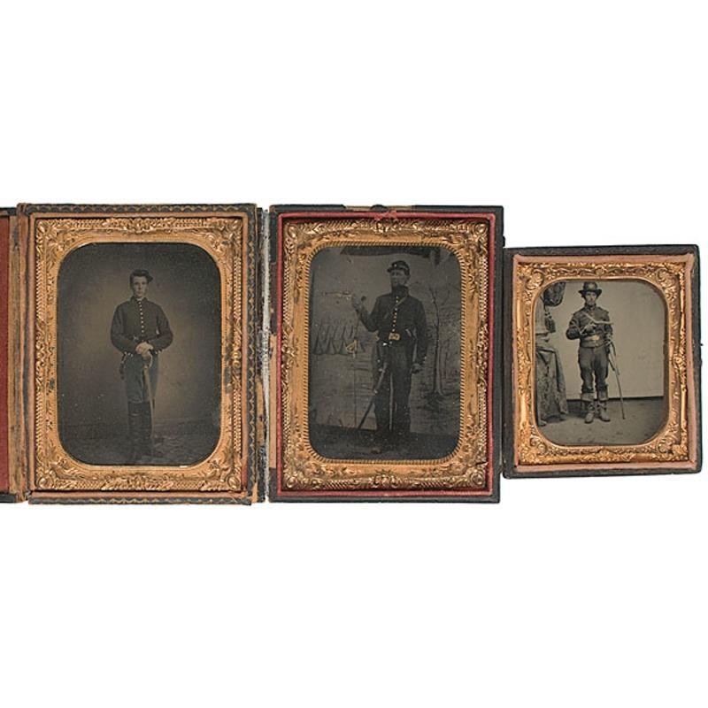 Lot of Three Cased Tintypes of Armed Cavalrymen
