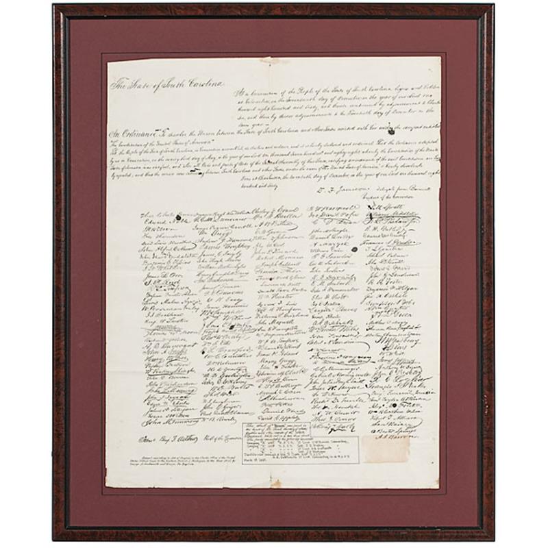 South Carolina Ordinance of Secession / Scroll of Treason, 1865