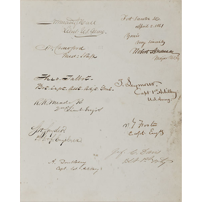 Autograph Collection of The Officers on Duty at Fort Sumter 1861 Signed Their Names Just Days Before the Bombardment