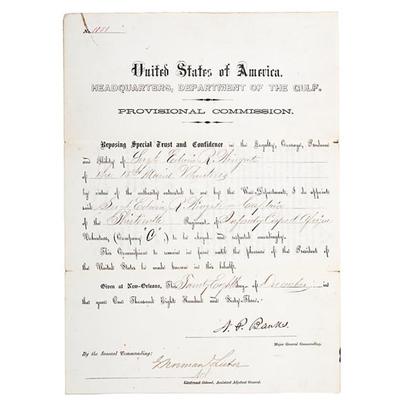 Civil War Date Corps d'Afrique Commission