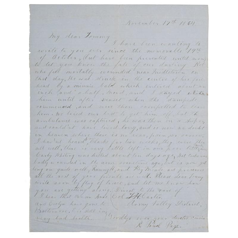 Confederate Surgeon Robert Powell's Letter Written After Battle of Cedar Creek