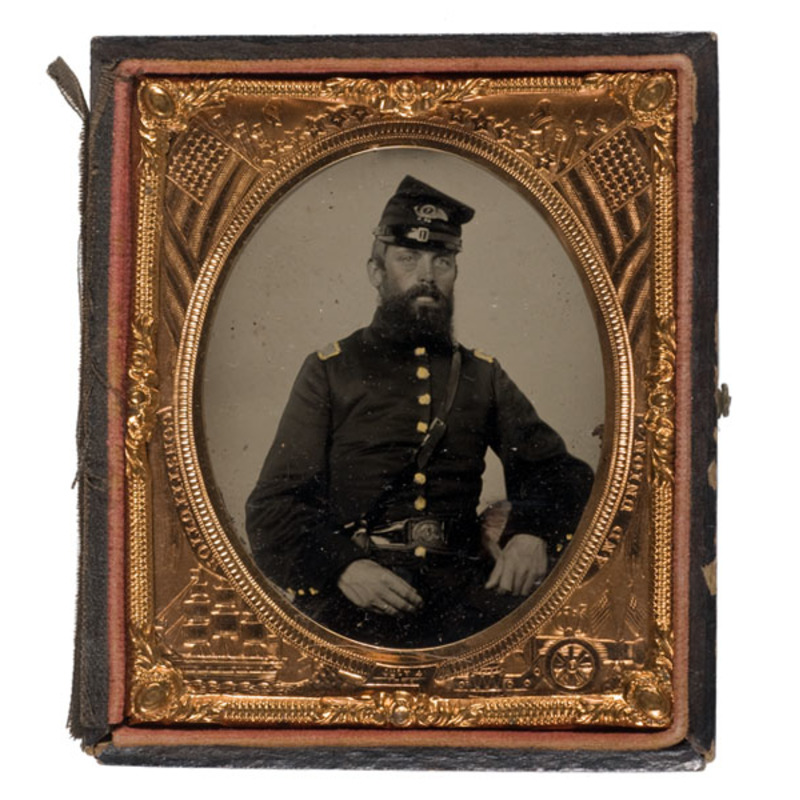Sixth Plate Tintype of Capt. Zeba F. Bliss, 7th Mass, Infantry