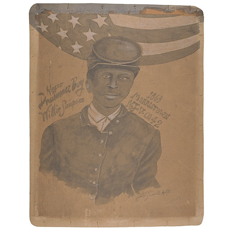 Civil War African American  Drummer Boy Watercolor Portrait