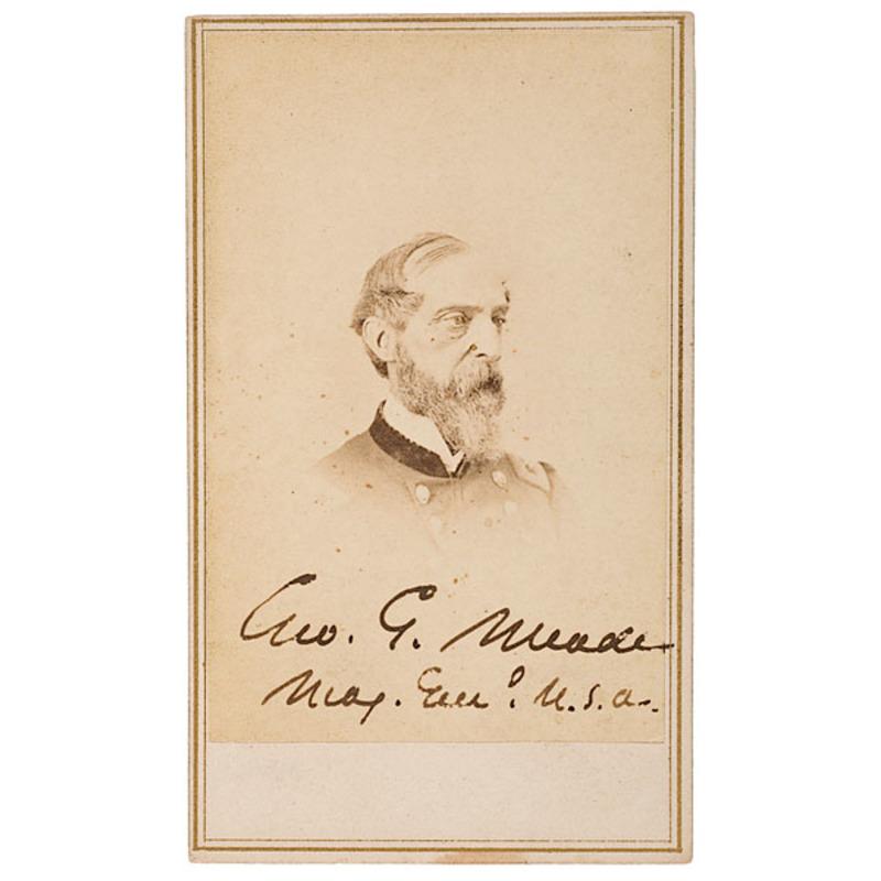 Autographed CDV of Maj. Gen. George C. Meade