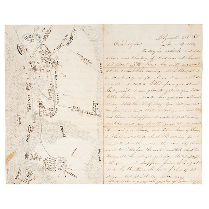 Civil War 85th New York Letter Illustrated with Detailed Map