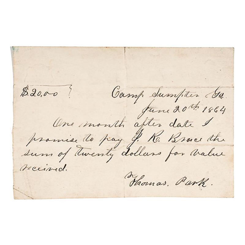 Andersonville Prison Civil War Promissory Note