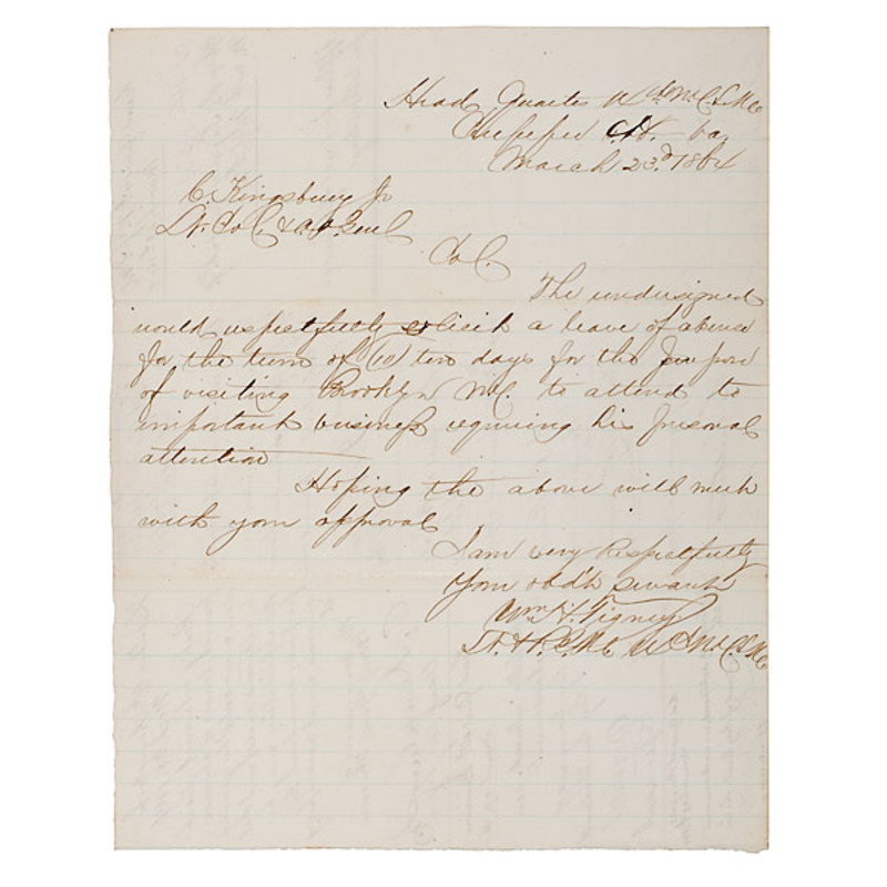 Civil War Request Endorsed by Generals Cutler & Rice