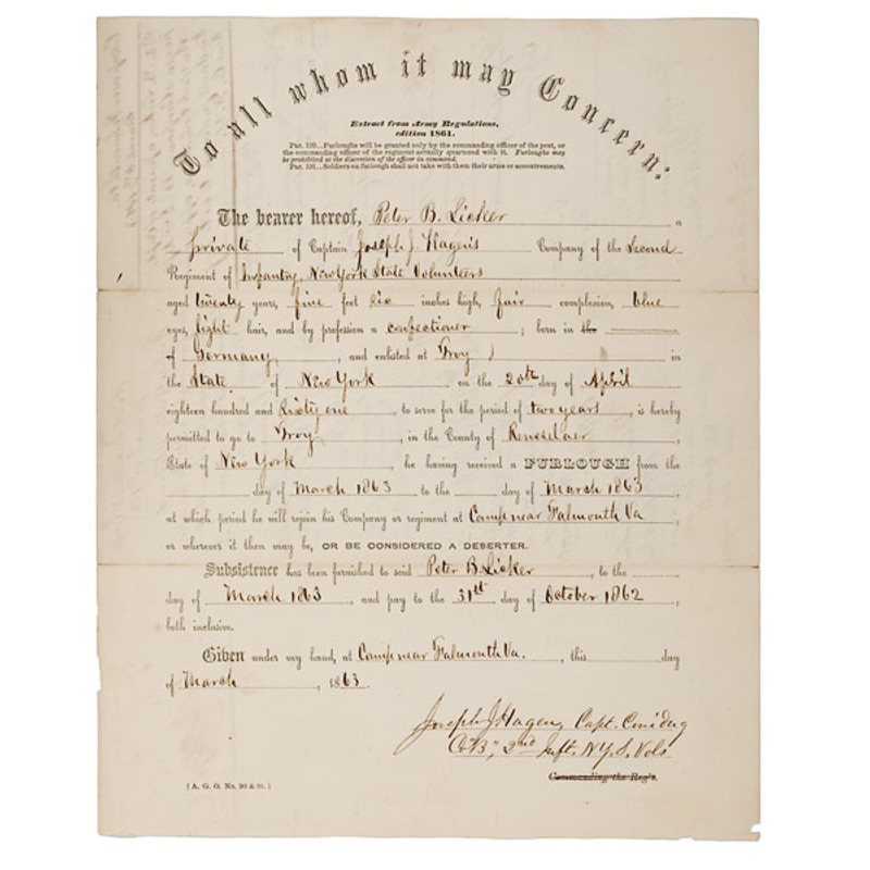 Civil War Furlough Endorsed by Brig. Gen. H.G. Berry, KIA at Chancellorsville