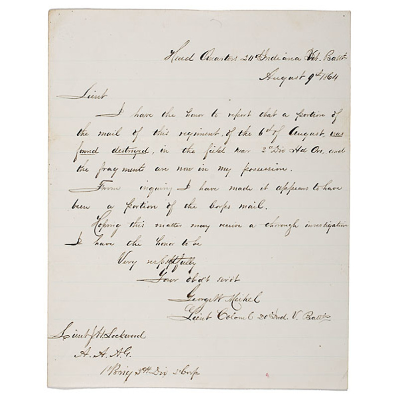 Civil War Enquiry Endorsed by Three Union Generals, Including Hancock