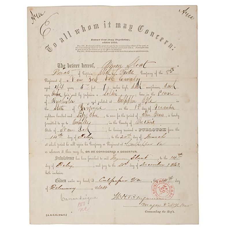 Civil War Furlough Endorsed by Brig. Gen. Wesley Merritt