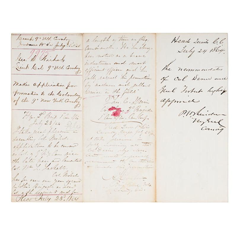 Civil War Document Endorsed by Maj. Gen. Sheridan and Brig. Gen. Torbert