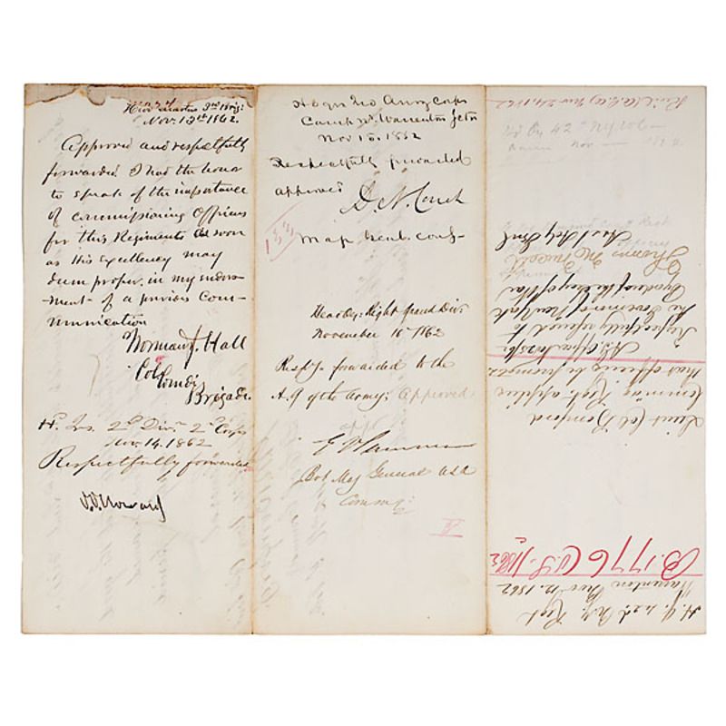Civil War Letter Endorsed  by Four Generals
