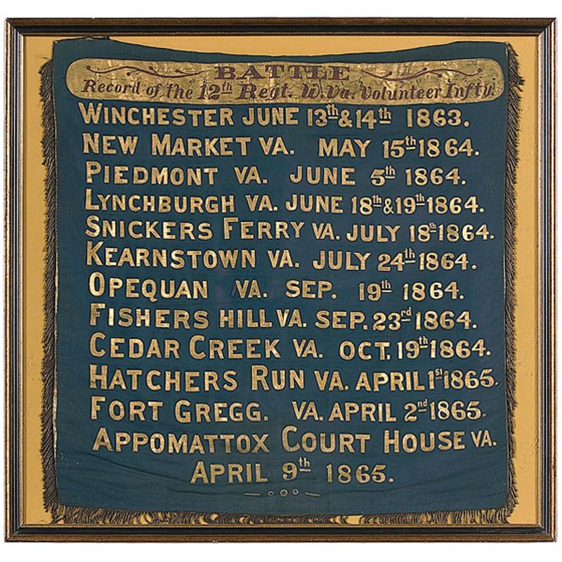 Appomattox Court House 12th Regiment Battle Record Banner, Plus