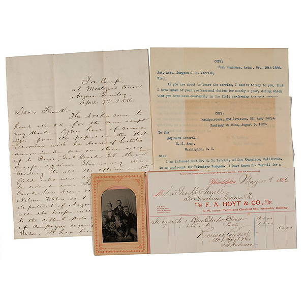 Apache Wars Letters and Tintype from George M. Terrill, Asst. Surgeon