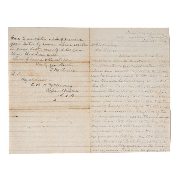 Civil War Letter From Lt. Phillip M. Terrill, KIA, 12th VA Cavalry