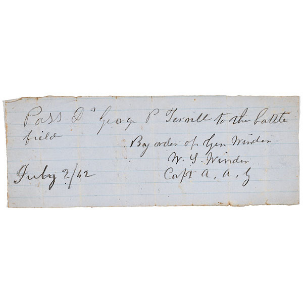 Confederate Battlefield Pass Signed by W.S. Winder of Andersonville Fame