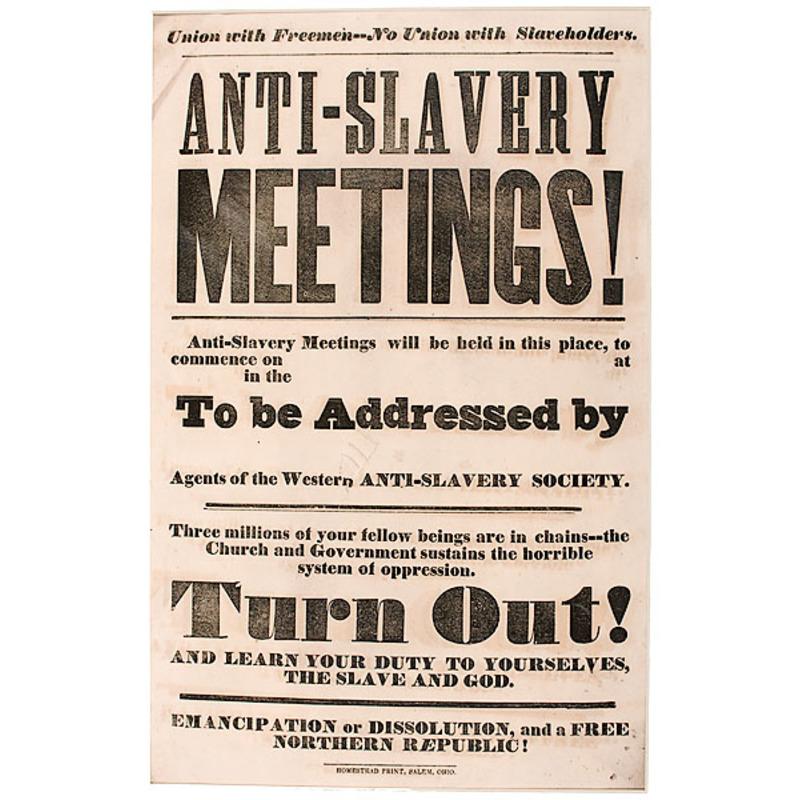 Anti-Slavery Meetings Broadside