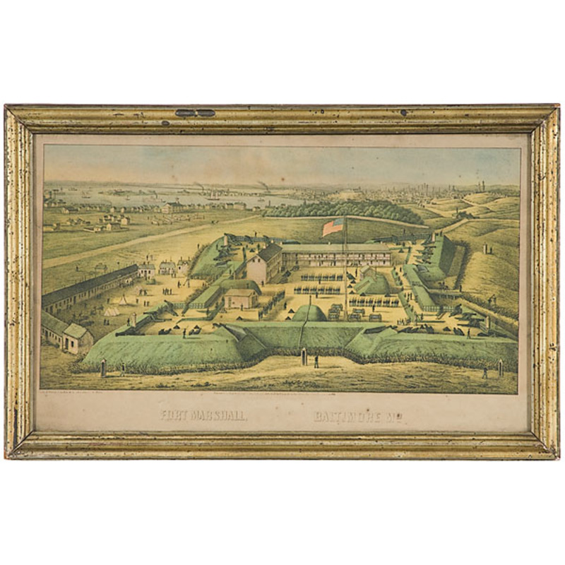 Fort Marshall - Baltimore, MD Hand-Colored Lithograph