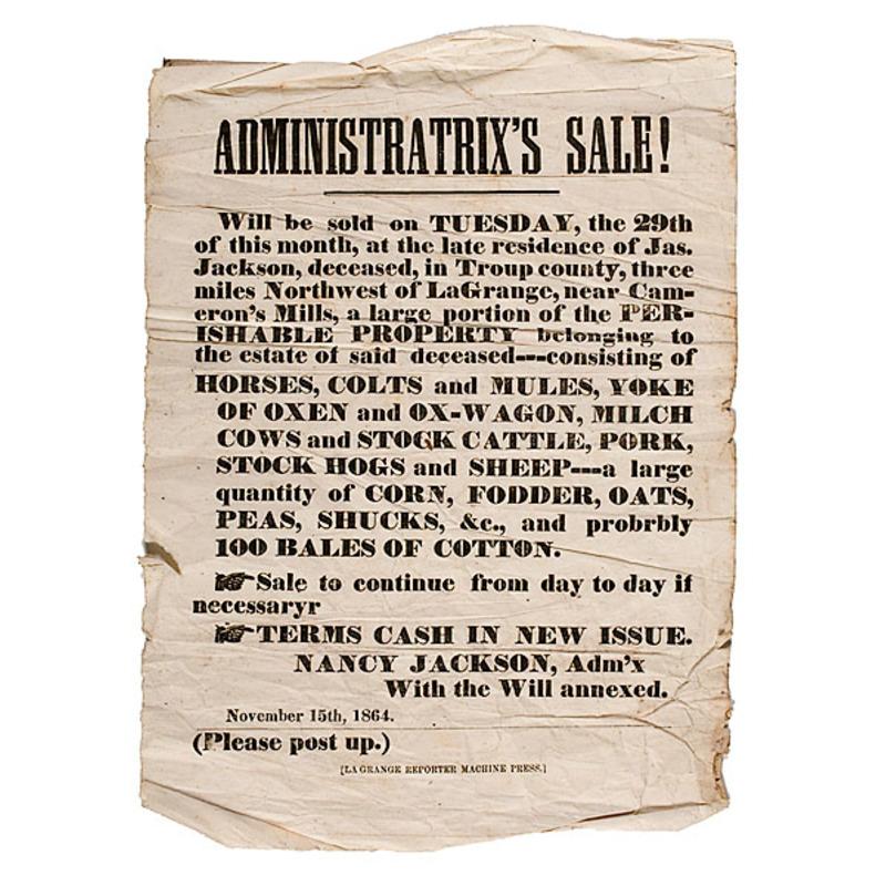 Georgia Civil War Estate Auction Broadside