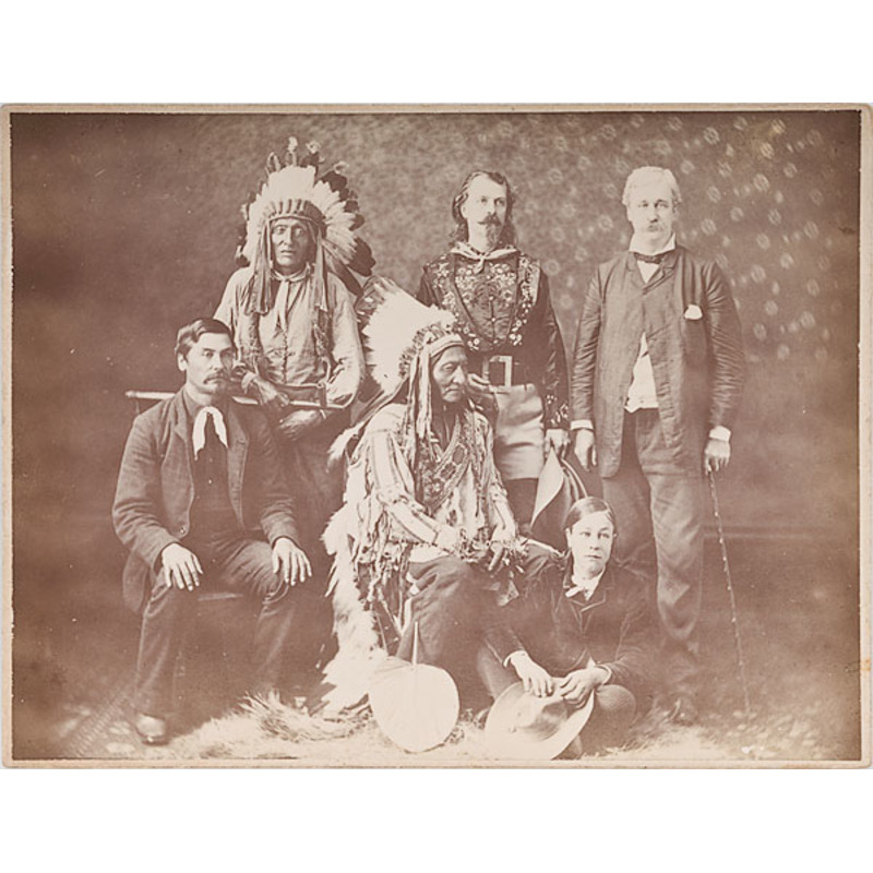 Buffalo Bill, Sitting Bull, and Wild West Troop Members Photograph