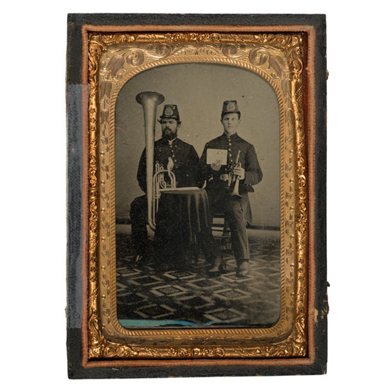 Eight Plate Tintype of NYSNG Bandsmen